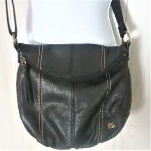 The Sak Black Leather Deena Flap Crossbody Handbag